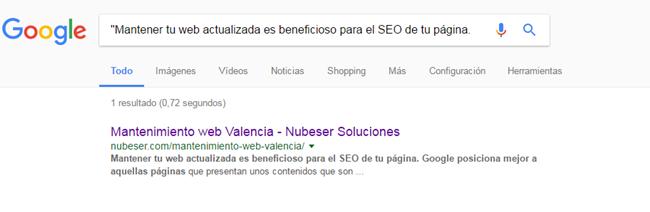 Detecta contenido duplicado con google, herramienta de marketing online Valencia
