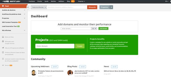Semrush, herramienta de marketing online Valencia imprescindible. También sirve para el posicionamiento SEO Valencia
