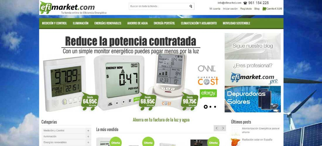Efimarket: Mantenimiento web&&ciudad&&. Tienda Online Magento&&ciudad&&. Rediseño arquitectura web, look&feel. campañas SEO y SEM.