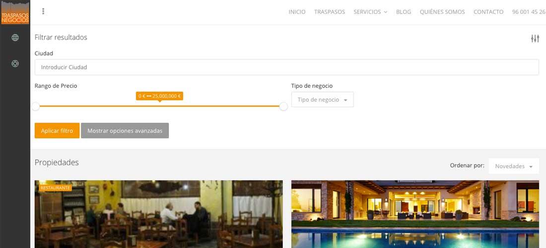 Diseño web Wordpress&&ciudad&&: Traspasos y negocios