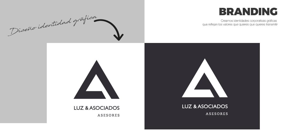 Luz Asociados: Diseño gráfico. Diseño de identidad corporativa. Diseño logotipo e isotipo.