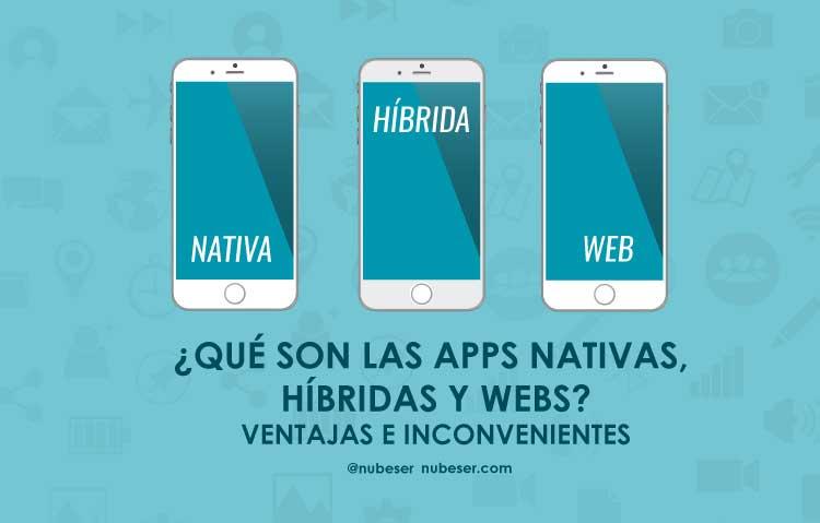 Tipos de desarrollo aplicaciones móviles. Apps nativas, apps webs y apps híbridas.