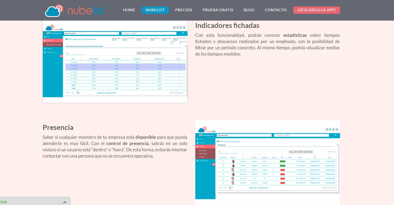 Desarrollo web corporativa en Wordpress&&ciudad&& Nubelist. Herramienta de gestión interna para empresas. Control de fichadas, productividad...