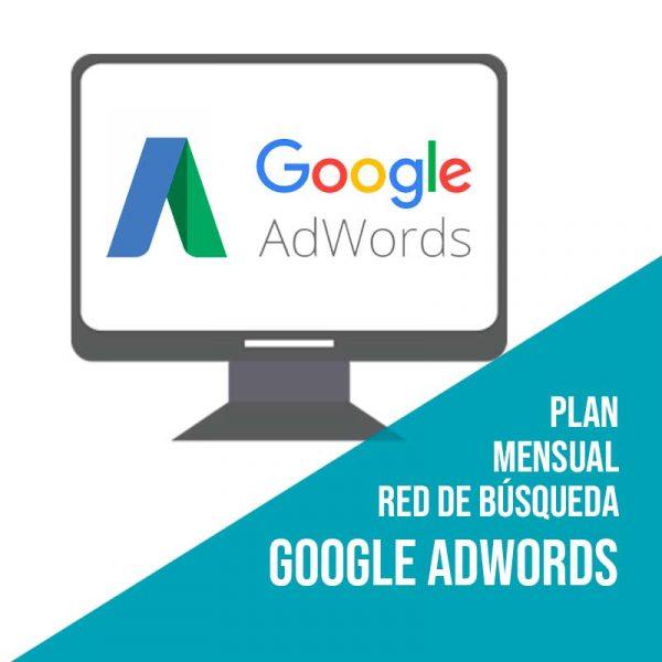 Plan mensual red de búsqueda. Agencia Adwords. Gestión de campañas Google Adwords por empresa de marketing online.